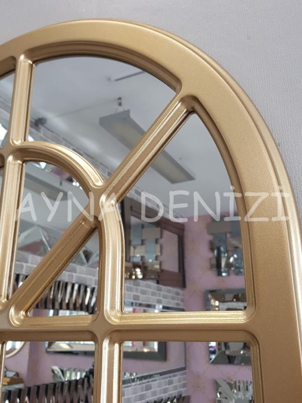 Paviya Model Altın Renk Dekoratif Pencere Ayna-18