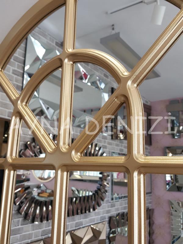 Paviya Model Altın Renk Dekoratif Pencere Ayna-19