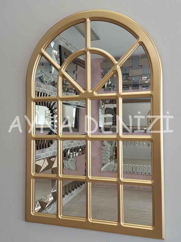 Paviya Model Altın Renk Dekoratif Pencere Ayna-2