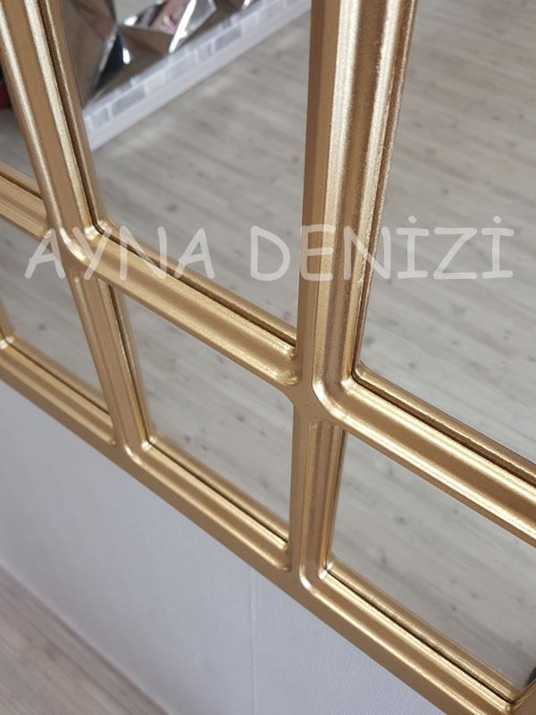 Paviya Model Altın Renk Dekoratif Pencere Ayna-23