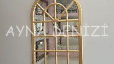 Paviya Model Altın Renk Dekoratif Pencere Ayna
