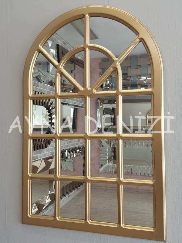 Paviya Model Altın Renk Dekoratif Pencere Ayna-3