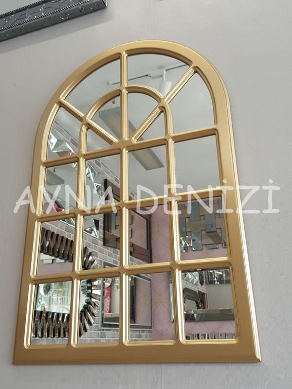 Paviya Model Altın Renk Dekoratif Pencere Ayna-4