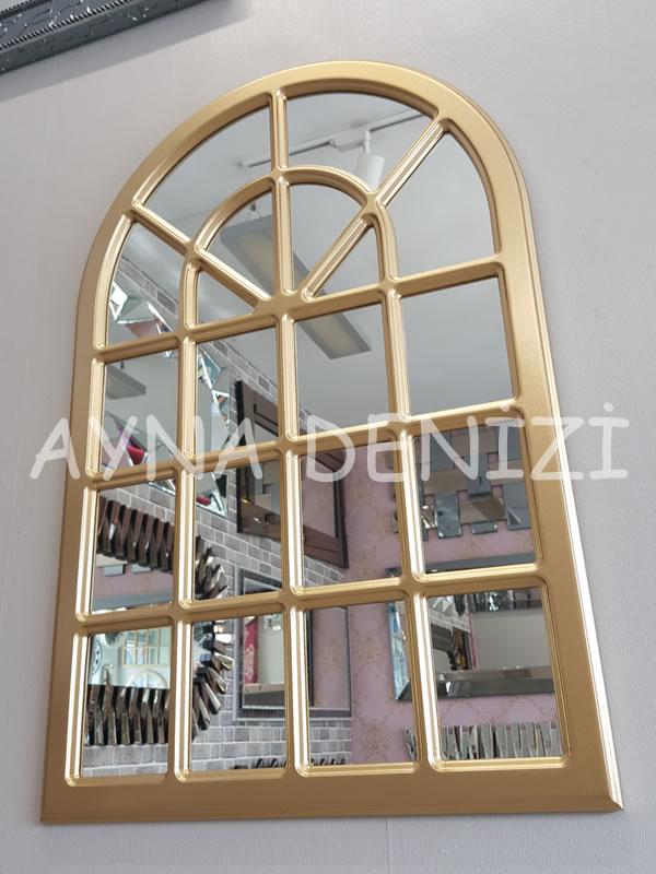 Paviya Model Altın Renk Dekoratif Pencere Ayna-6