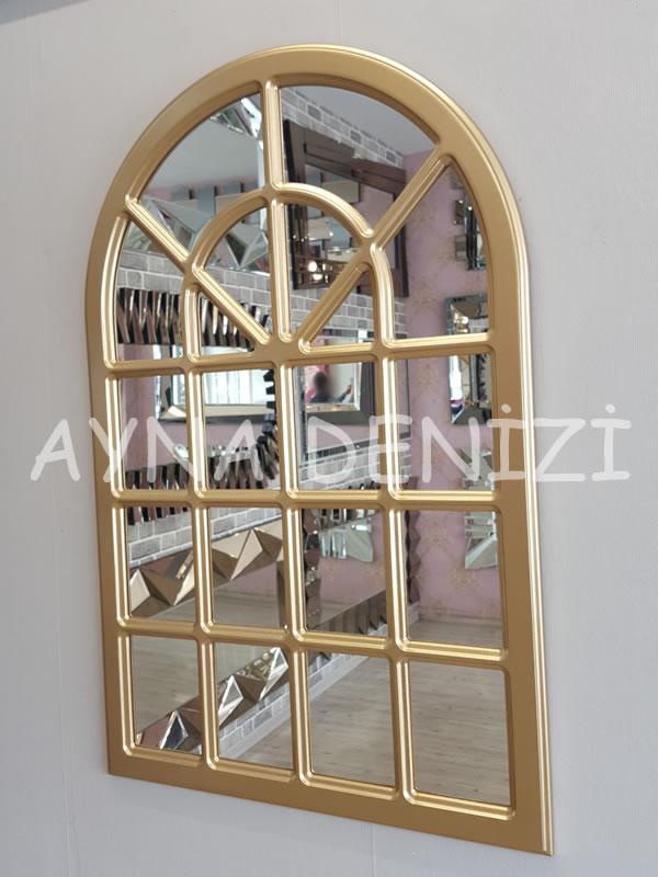 Paviya Model Altın Renk Dekoratif Pencere Ayna-7