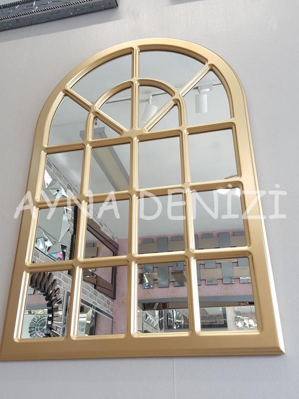 Paviya Model Altın Renk Dekoratif Pencere Ayna-8