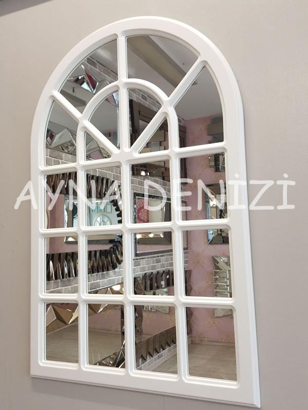 Paviya Model Beyaz Renk Dekoratif Pencere Ayna-10