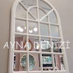 Paviya Model Beyaz Renk Dekoratif Pencere Ayna-11