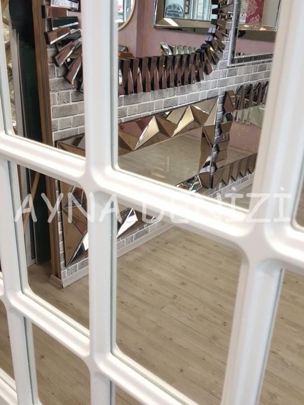 Paviya Model Beyaz Renk Dekoratif Pencere Ayna-16