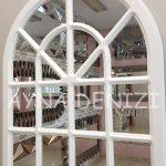 Paviya Model Beyaz Renk Dekoratif Pencere Ayna-19