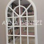 Paviya Model Beyaz Renk Dekoratif Pencere Ayna-2