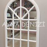 Paviya Model Beyaz Renk Dekoratif Pencere Ayna-3
