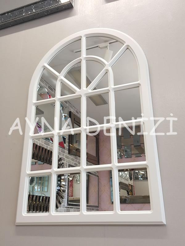 Paviya Model Beyaz Renk Dekoratif Pencere Ayna-4