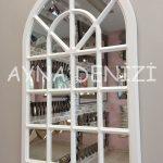Paviya Model Beyaz Renk Dekoratif Pencere Ayna-6