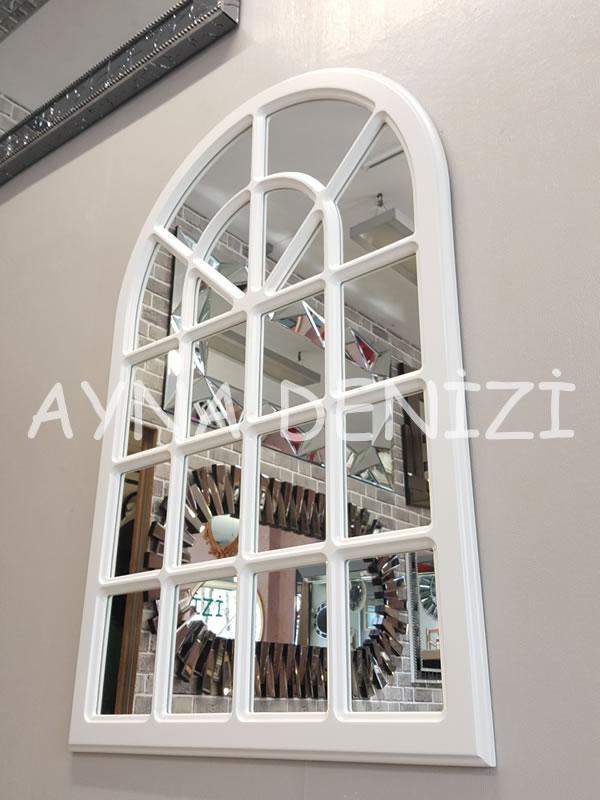 Paviya Model Beyaz Renk Dekoratif Pencere Ayna-7