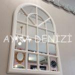 Paviya Model Beyaz Renk Dekoratif Pencere Ayna-9