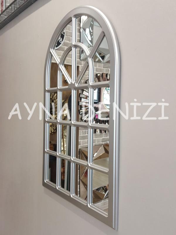Paviya Model Gümüş Renk Dekoratif Pencere Ayna-12