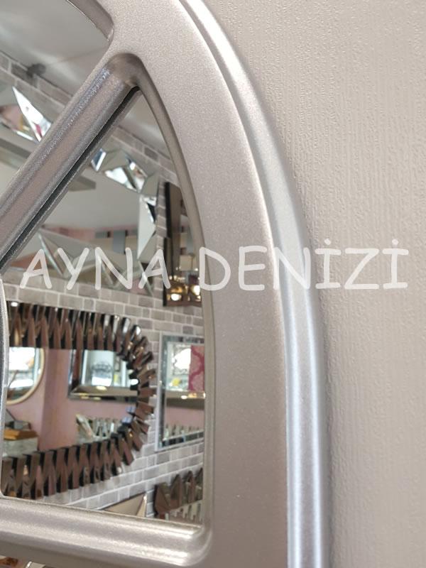 Paviya Model Gümüş Renk Dekoratif Pencere Ayna-17