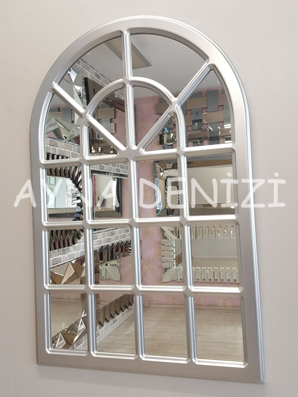 Paviya Model Gümüş Renk Dekoratif Pencere Ayna-2