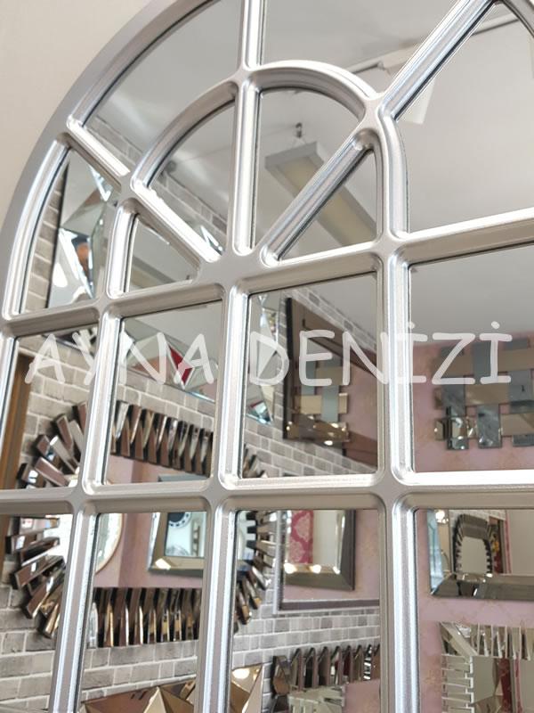 Paviya Model Gümüş Renk Dekoratif Pencere Ayna-22