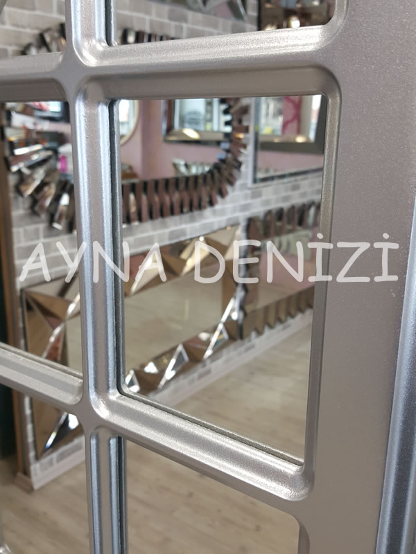 Paviya Model Gümüş Renk Dekoratif Pencere Ayna-23