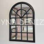 Paviya Model Siyah Renk Dekoratif Pencere Ayna-1