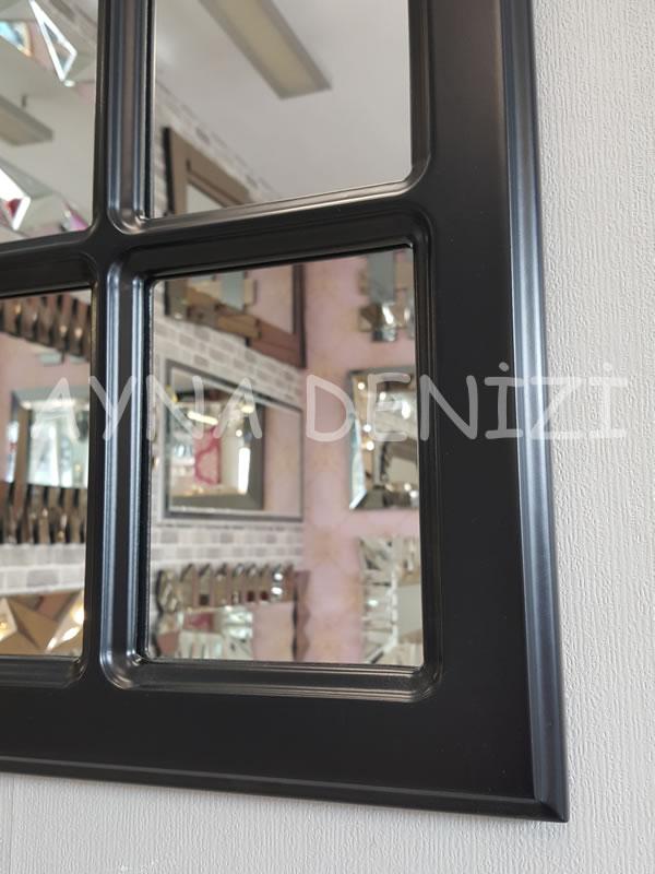 Paviya Model Siyah Renk Dekoratif Pencere Ayna-12