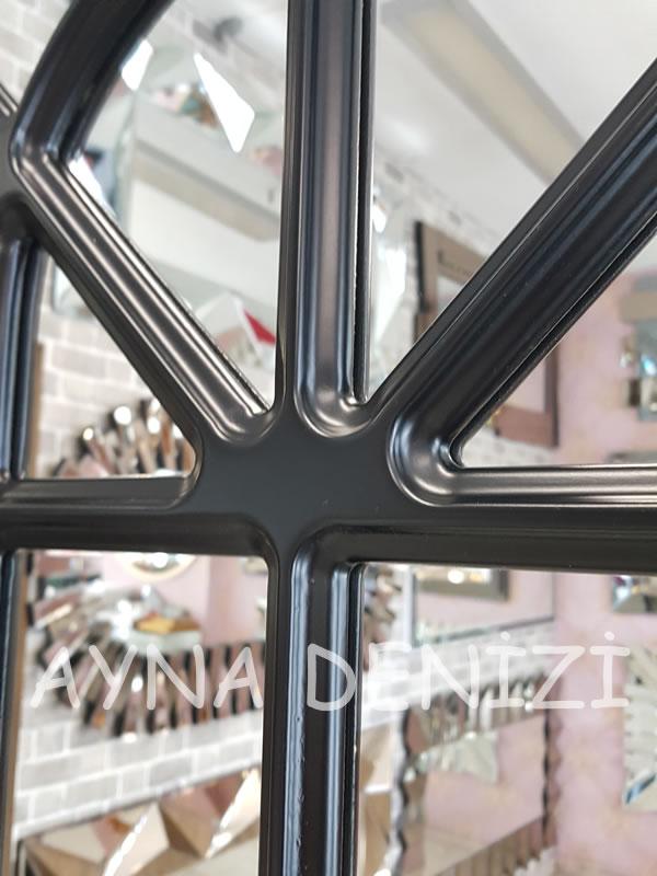 Paviya Model Siyah Renk Dekoratif Pencere Ayna-16