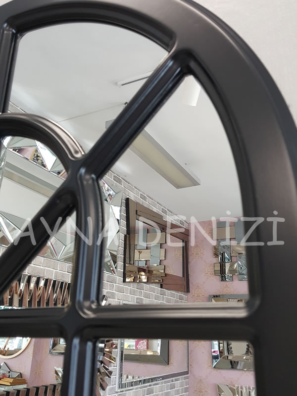 Paviya Model Siyah Renk Dekoratif Pencere Ayna-19