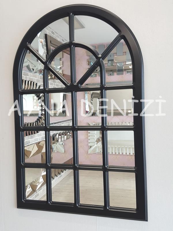 Paviya Model Siyah Renk Dekoratif Pencere Ayna-2