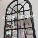 Paviya Model Siyah Renk Dekoratif Pencere Ayna-3
