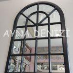 Paviya Model Siyah Renk Dekoratif Pencere Ayna-4