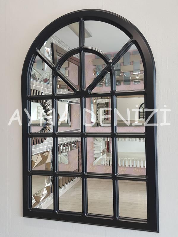 Paviya Model Siyah Renk Dekoratif Pencere Ayna-5