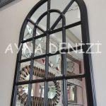 Paviya Model Siyah Renk Dekoratif Pencere Ayna-6