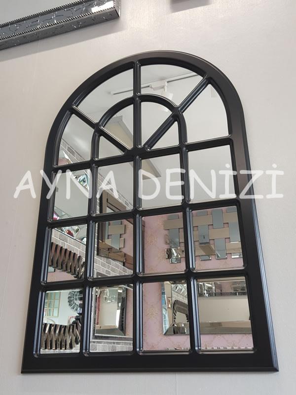 Paviya Model Siyah Renk Dekoratif Pencere Ayna-8