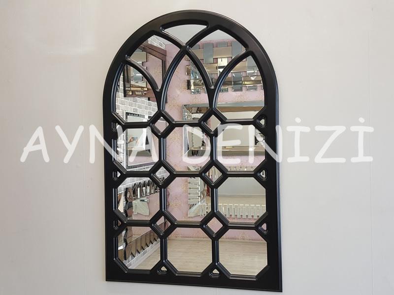 Rennes Model Siyah Renk Dekoratif Pencere Ayna-1