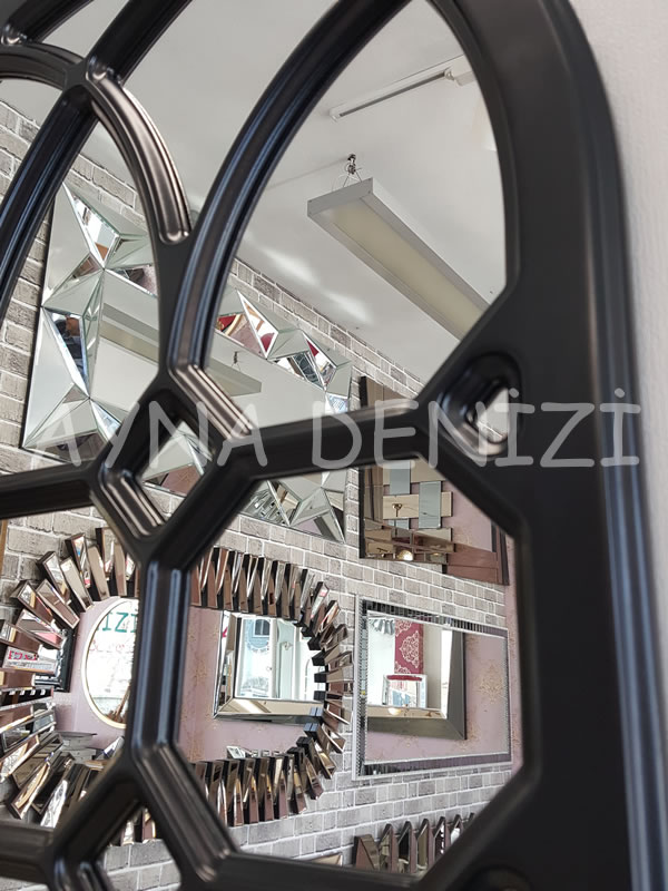 Rennes Model Siyah Renk Dekoratif Pencere Ayna-13
