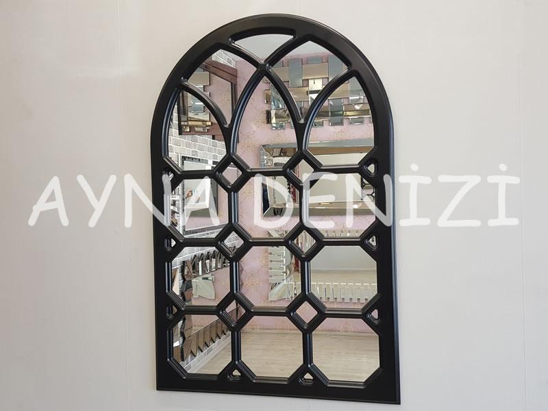 Rennes Model Siyah Renk Dekoratif Pencere Ayna