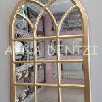 Savona Model Altın Renk Dekoratif Pencere Ayna-10