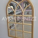 Savona Model Altın Renk Dekoratif Pencere Ayna-11