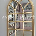 Savona Model Altın Renk Dekoratif Pencere Ayna-12