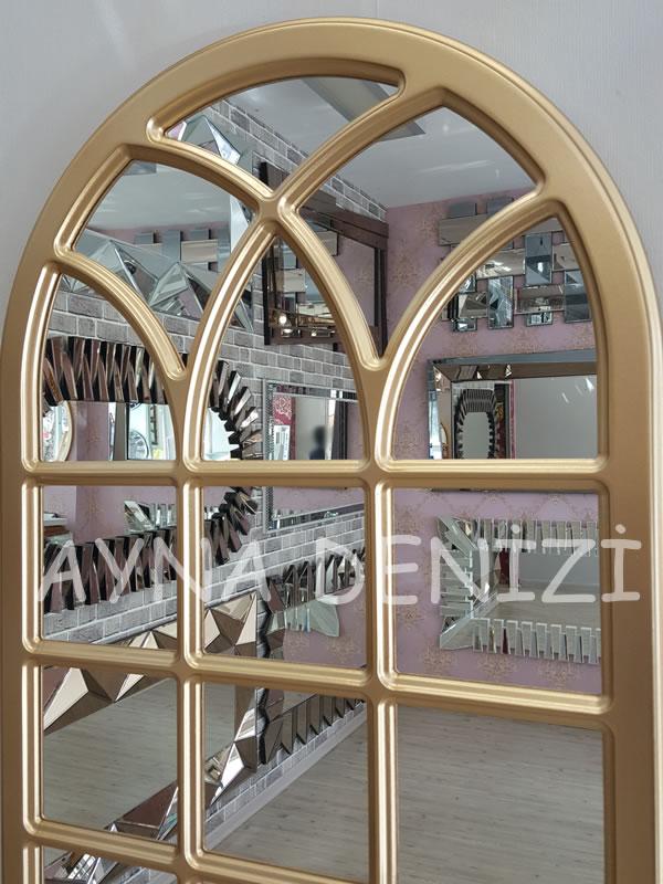 Savona Model Altın Renk Dekoratif Pencere Ayna-14