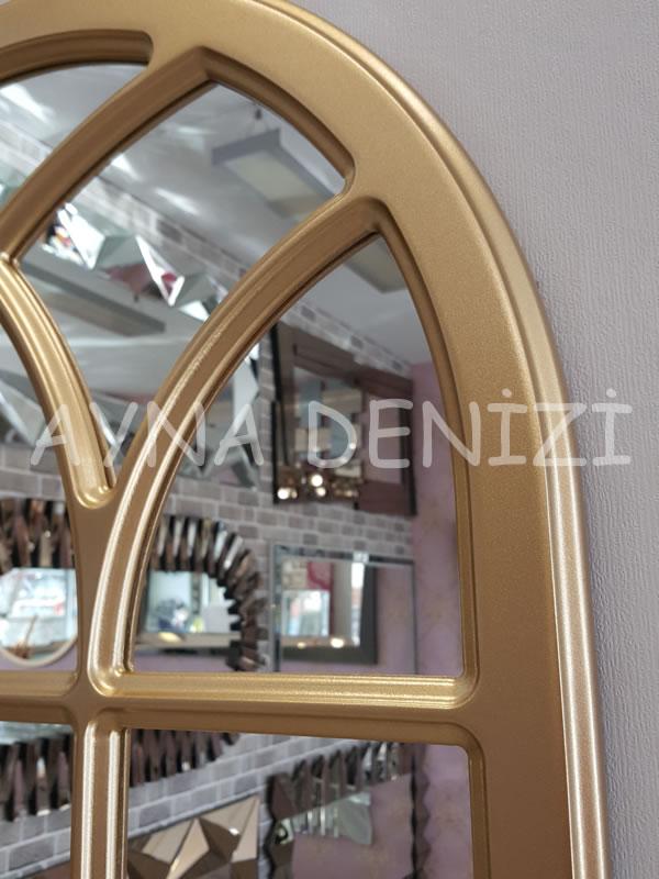 Savona Model Altın Renk Dekoratif Pencere Ayna-16