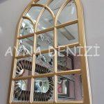 Savona Model Altın Renk Dekoratif Pencere Ayna-3