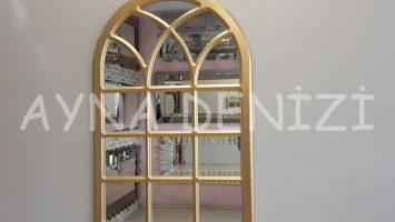 Savona Model Altın Renk Dekoratif Pencere Ayna