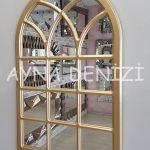 Savona Model Altın Renk Dekoratif Pencere Ayna-4
