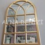 Savona Model Altın Renk Dekoratif Pencere Ayna-6