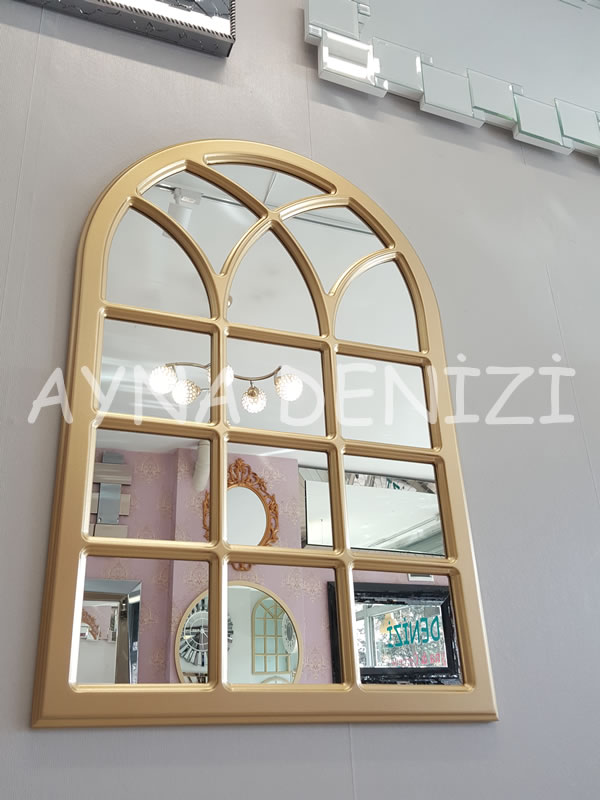 Savona Model Altın Renk Dekoratif Pencere Ayna-7