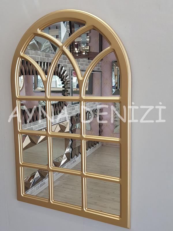Savona Model Altın Renk Dekoratif Pencere Ayna-9