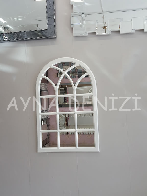 Savona Model Beyaz Renk Dekoratif Pencere Ayna-10